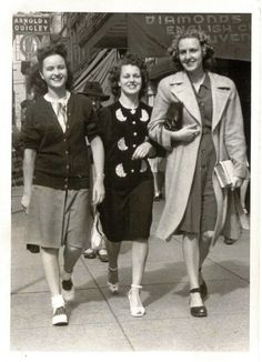 """It's summer of 1947, my first summer living in Vancouver, and I'm shopping with my YWCA roommates. I am in the centre, my cousin is on the left and a young woman from the prairies on the right. I may have been shopping for my trousseau, as I'd just become engaged."" c.1947"