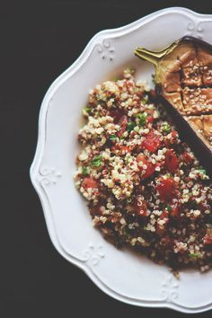 Miso eggplants with quinoa salad - vegan, gluten-free