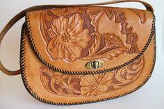 Vinatge Tooled Leather Handbag Purse by FunkieFrocks on Etsy