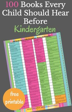 101 books that should be read to every child before kindergarten! An ultimate book list with a free printable book list to take to the library. via @growingbbb