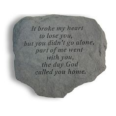 Honor your loved one with the gentle design of the It Broke My Heart Memorial Stone. Cut from durable cast stone, this resilient monument will not chip or crack in inclement weather. Displaying a thoughtful quote, it is perfect for any reflective space. Tribal Tattoos, Tattoos Skull, Dreamcatcher Tattoos, Celtic Tattoos, Memorial Stones, Dog Memorial, Memorial Ideas, Memorial Flowers, Memorial Tattoo Quotes