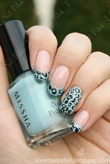 Leopard Print + Blue French Tips