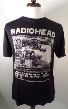 Mens Size L WASTE UK Radiohead Ice Caps Melting T Shirt, Black/Beige