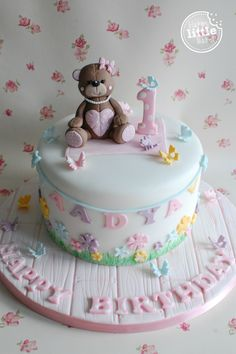 Teddy bear themed first birthday cake.