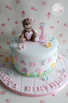 Teddy bear themed first birthday cake.