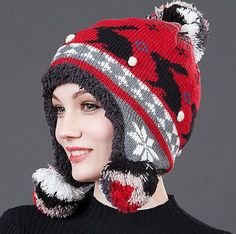 df65549e366 Rabbit knit hat with pom pom for women winter hat with ear flaps
