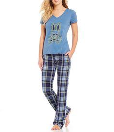 dddd99fdfc Psycho Bunny Large Plaid Print Knit Sleep Pants