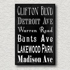 Lakewood Ohio Subway Sign Art Print Cleveland Suburb Bus Roll Scroll City Poster Modern Home Decor Typography 11X17 inches S01. $20.00, via Etsy.