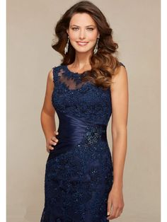 Elegant Illusion Neckline Navy Lace and Tulle Long Mother of The Bride Dresses Formal Evening Dresses 5603006