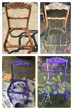 Before and after chair with succulents! shed landscaping sh. - Garden Care tips, Garden ideas,Garden design, Organic Garden Garden Yard Ideas, Garden Crafts, Diy Garden Decor, Garden Projects, Fall Planters, Garden Planters, Chair Planter, Ideias Diy, Garden Care