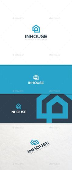 InHouse - Logo Template (Vector EPS AI Illustrator Resizable bold clean corporate double effective friendly home house inside minimal modern real estate rent simple strong timeless) Building Logo, Logo Inspiration, Identity Design, Corporate Design, Editorial Design, Type Logo, Property Logo, Typographie Logo, Real Estate Logo Design