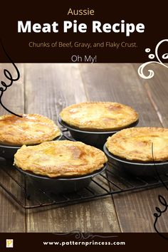 Have you ever heard of an Aussie Meat Pie Recipe? Think of taking tender and delicious chunks of roast beef that have been cooked in a rich gravy sauce, then placed in a flaky shortbread crust with a puff pastry topping. It does take a bit of effort and time, but the result with recipes like this are worth it. #meatpie #pie #short crust #beef pie #dinner #meal #comfortfood Pie Recipes, Casserole Recipes, Lunch Recipes, Easy Dinner Recipes, Baking Recipes, Healthy Breakfast Recipes, Healthy Recipes, Recipe Maker, Best Casseroles