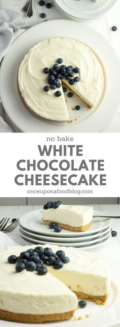Sweet and beautifully creamy with just the right amount of salty, crunchy biscuit base, this No Bake White Chocolate Cheesecake is a fantastic dessert, perfect for Mother's Day or even Easter Sunday. #nobakecheesecake #nobakedesserts #quickdesserts #easydesserts #nobakewhitechocolatecheesecake #nobakechocolatecheesecake #whitechocolate #chocolate #chocolatedessert #cheesecake #onceuponafoodblog