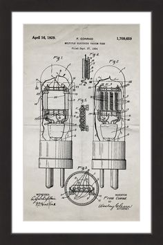 This is a print of a 1929 vacuum tube patent, presented as a vintage industrial or steampunk style drawing. Authentic historical patent prints celebrate industrial design and invention as art, and fit Nikola Tesla, Vintage Bike Decor, Vintage Ads, Antique Radio, Patent Drawing, Poster Prints, Art Prints, Posters, Vacuum Tube