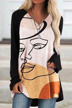 Abstract Women Character Print V-neck Curved High Low Hem Color-block Artistic T-shirt Short Mini Dress, White Mini Dress, Short Dresses, Loose Dresses, Dress Long, Thing 1, Trendy Clothes For Women, A 17, Online Shopping Clothes