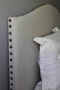 I need a new Head board. Best looking, easiest DYI headboard Ive seen yet. Also simple design is appealing. May change color. DIY Drop Cloth/Nailhead Trim Upholstered Headboard TutorialDIY Show Off   DIY Decorating and Home Improvement Blog. Love the shape and nail heads.