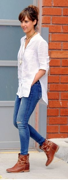 Street style. Love big white button up with jeans and brown boots!