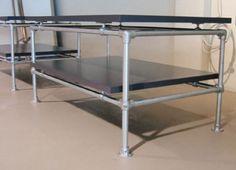 galvanized pipe table w/ bottom shelf