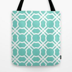 Moroccan Lattice in Cyan Tote Bag by House of Jennifer - $22.00 | http://society6.com/JenniferGibson/Moroccan-Lattice-in-Cyan_Bag#26=197