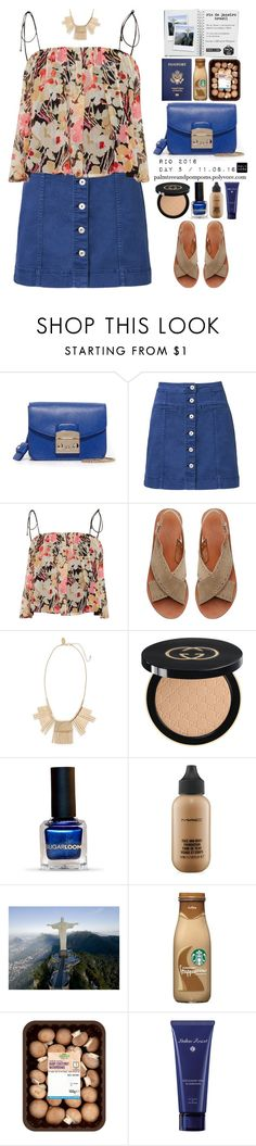 """""""Pack and Go: Rio / Witchery A Line Denim Skirt"""" by palmtreesandpompoms ❤ liked on Polyvore featuring Furla, Witchery, Elizabeth and James, Paperchase, Natasha Couture, Gucci, MAC Cosmetics, Acqua di Parma, ElizabethAndJames and witchery"""
