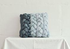 "Dark and light grey ""plait"" pillowcase - dyed, decorative, handmade cushions.  Etsy £65"