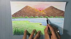 draw mountain landscape easy drawing paint beginners sunset sketches oil simple painting scenery river children drawings paintings pastel village بالالوان