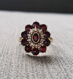 Antique Garnet and Seed Pearl Engagement Ring January Art Deco Oval Flower Vintage Ballerina Victori Gothic Engagement Ring, Yellow Engagement Rings, Vintage Engagement Rings, Art Deco, Art Nouveau, Gothic Jewelry, Antique Jewelry, Vintage Jewelry, Vintage Rings