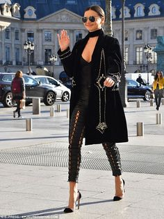 Woman in black:The Australian model, 33, looked fresh and vibrant during an outing in Paris shortly after touching down ahead of the biannual event's closing stages