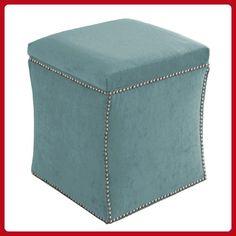 Skyline Furniture Velvet Nail Button Ottoman, Caribbean - Improve your home (*Amazon Partner-Link)