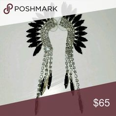 Glam Rock Luxury Goth Spiked Dangle Earrings NWOT Listed for less on EBY!  These have never been worn +were purchased from a high end salon Boutique in West Bloomfield, Mi for $98. It's hard to capture just how eye catching these really are! Blinged out in a classy + edgy way! Jewelry Earrings