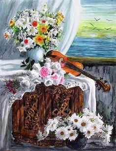 CELAL GÜNAYDIN Turkish Artist Painter Watercolor  İnce ve sık örülmüş bir tül gibi sessizce yağan yağmura dönüşür sanat. Her ıslattığında, çiçekler fışkırır boyalarda....... suluboya...65x50 cm.