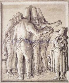 Giandomenico Tiepolo Italy (1727-1804), Pulcinella che scacciano una ragazza; fresco, 1783. Ca' Rezzonico, Venice.