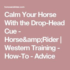 Calm Your Horse With the Drop-Head Cue - Horse&Rider | Western Training - How-To - Advice