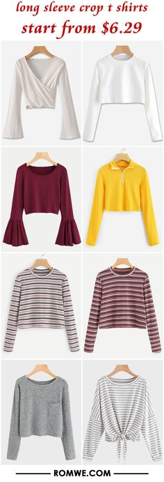 long sleeve crop t shirts from $6.29