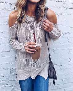 Beige Cold Shoulder Sweater