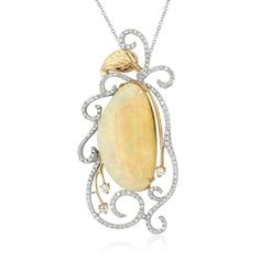 Kasai 18k white gold pendant set with a 11.81ct opal accented with diamonds #opalsaustralia