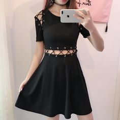 Cheap knitted dress, Buy Quality pleated dress directly from China dress gothic Suppliers: korean Korean fashion Goth Appeal Rivets Lace-Up Hollow Out Darkness One-Piece Knit Knitted Dress Gothic Mini Pleated Dresses Gothic Dress, Gothic Outfits, Edgy Outfits, Pretty Outfits, Dress Outfits, Girl Outfits, Fashion Outfits, Mein Style, Korean Street Fashion