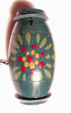 Antique Vintage Hand Painted Wood German Sewing Needle Case | eBay