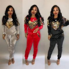 Thick Velvet Sequin 2 Piece Set Women Tracksuit Hoodies Tops and Pant Casual Outfits Suits Fall Winter Velour Sweatsuit Sets Plus Size Tracksuit, Plus Size Joggers, Suit Fashion, Fashion Pants, Fashion Hoodies, Female Fashion, Casual Winter Outfits, Cool Outfits, Joggers Outfit