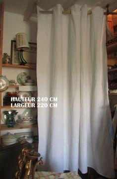 RIDEAU EN LIN ANCIEN OEILLETS /DRAP ANCIEN EN LIN blanc/240X220 CM : Textiles et tapis par pouchant86