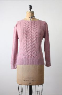 1970s blush cable knit sweater