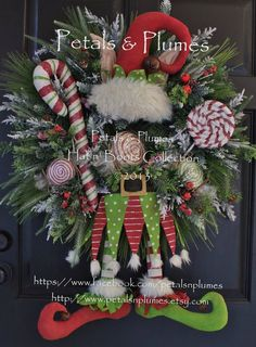 """PRE-ORDER for """"2014"""" DELIVERY Item-Christmas Wreath-""""Primitive Candy Land Elf""""(Please see Production Time) Petals & Plumes Original Design"""