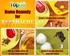 Remedies For Pain Top remedies for tooth ache that really works - Some of the best home remedies that offer immediate relief from the severe pain caused by toothache. These cures work instantly to treat your tooth pain. Top 10 Home Remedies, Natural Acne Remedies, Eczema Remedies, Homeopathic Remedies, Natural Cures, Remedies For Tooth Ache, Tooth Pain, Healthy Aging, Natural Treatments