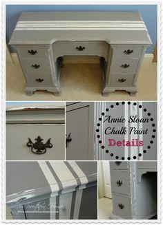 Grain Sack Desk {Annie Sloan Chalk Paint} at www.oursouthernhomesc.com
