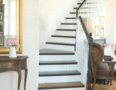 DIY Black and White Stairs.  Painted with CeCe Caldwell's Beckley Coal and finished with Endurance.   REDOUXINTERIORS.COM FACEBOOK: REDOUX