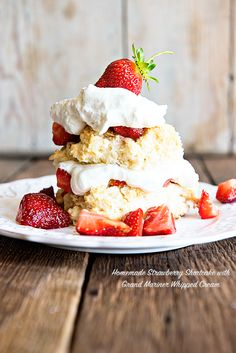 Homemade Strawberry Shortcake with Grand Mariner Whipped Cream - Dine and Dish