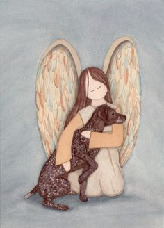 German Shorthaired Pointer with Angel / Lynch signed folk art print by watercolorqueen on Etsy
