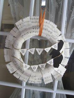 sheet music halloween wreath.