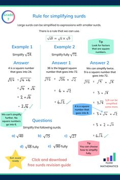 Rule for simplifying surds summary. Add to your board to help revise it. Gcse Science Revision, Physics And Mathematics, Maths Exam, Maths Algebra, Kids Math Worksheets, Math Resources, Math Tutorials, Maths Solutions, Math Notes