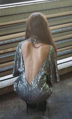 Sequins + deep v back.